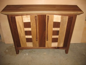 Maple and walnut cabinet